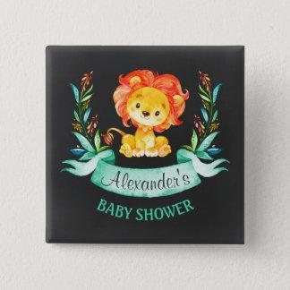 Badge Carré 5 Cm Baby shower de lion d'aquarelle de tableau