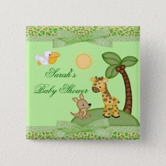 Badge Carré 5 Cm Baby shower d'impression de guépard d'animaux de