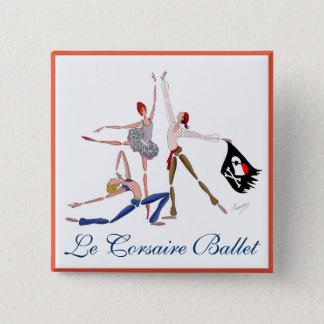 Badge Carré 5 Cm BALLET Le CORSAIRE, AIMANT de BALLERINE de pirates