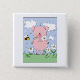 Badge Carré 5 Cm Bande dessinée rose gaie de porc