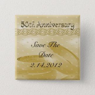 Badge Carré 5 Cm Bandes d'or d'anniversaire d'ensemble d'amour