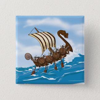 Badge Carré 5 Cm Bateau de Viking