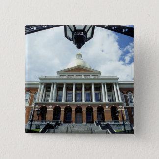 Badge Carré 5 Cm Bâtiment de capitol de Chambre d'état, Boston, mA,