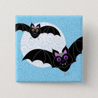 Badge Carré 5 Cm Battes de Halloween avec la lune