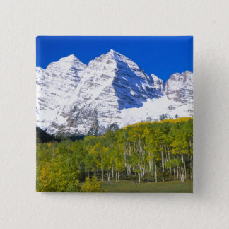 Badge Carré 5 Cm Bells marron avec la forêt de tremble d'automne