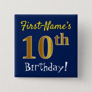 Badge Carré 5 Cm Bleu, anniversaire d'or de Faux 10ème, avec le nom