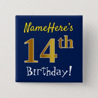 Badge Carré 5 Cm Bleu, anniversaire d'or de Faux 14ème, avec le nom