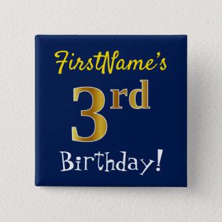 Badge Carré 5 Cm Bleu, anniversaire d'or de Faux 3ème, avec le nom