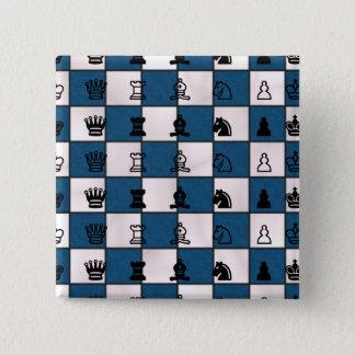 Badge Carré 5 Cm Bleu et échiquier et morceaux marbrés par blanc
