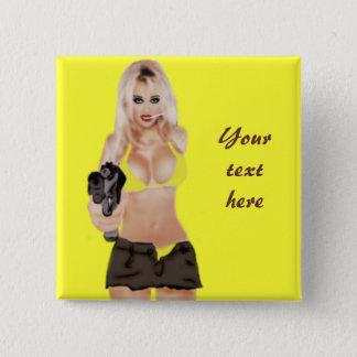 Badge Carré 5 Cm Blonde dangereuse - bouton mortel de Femme
