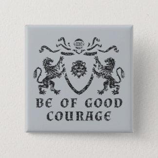 Badge Carré 5 Cm Bon bouton de blason de courage