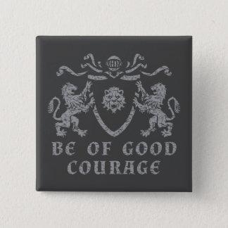 Badge Carré 5 Cm Bon bouton héraldique de courage
