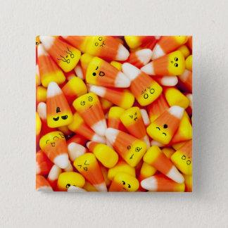 Badge Carré 5 Cm Bonbons au maïs avec le bouton mignon de visages