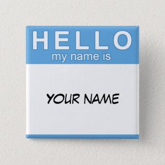 Badge Carré 5 Cm Bonjour mon nom est bouton