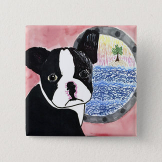 Badge Carré 5 Cm Boston Terrier