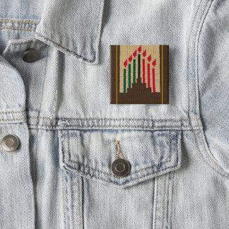 Badge Carré 5 Cm Bougies de Kwanzaa et broche d'impression de