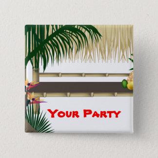 Badge Carré 5 Cm Bouton arrière de Pin de partie de hutte tropicale
