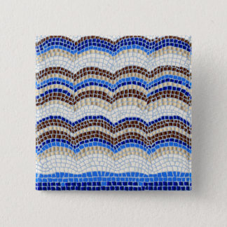 Badge Carré 5 Cm Bouton bleu de carré de mosaïque