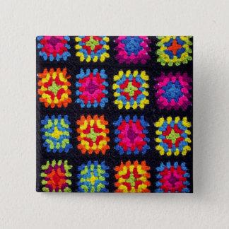 Badge Carré 5 Cm Bouton carré de mamie - bouton afghan de crochet