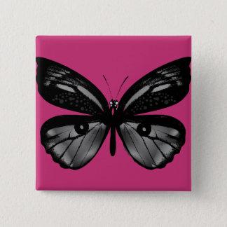 Badge Carré 5 Cm Bouton carré de mode : avec le papillon