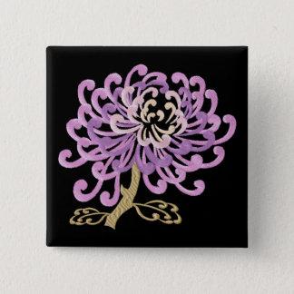 Badge Carré 5 Cm Bouton chinois de Broderie-Style de chrysanthème
