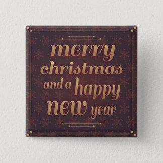 Badge Carré 5 Cm Bouton de carré de bonne année de Joyeux Noël