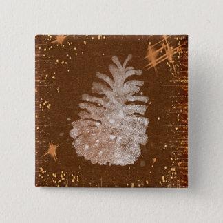 Badge Carré 5 Cm Bouton de carré de Noël d'impression de Pinecone