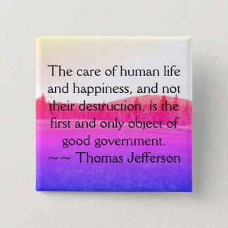 Badge Carré 5 Cm Bouton de citation de Jefferson