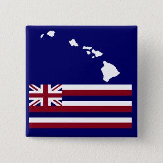 Badge Carré 5 Cm Bouton de drapeau des îles hawaïennes n