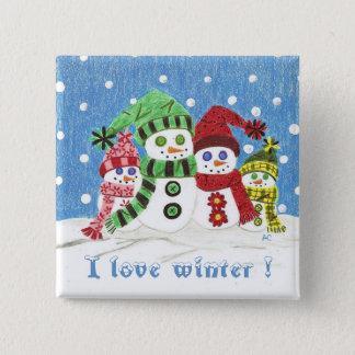 Badge Carré 5 Cm Bouton de famille de bonhommes de neige