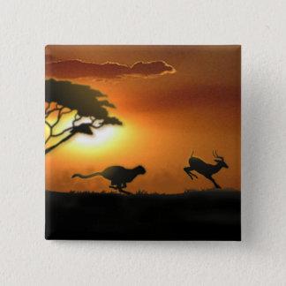 Badge Carré 5 Cm Bouton de guépard et de gazelle