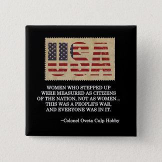 Badge Carré 5 Cm Bouton de jour de vétérans de femmes