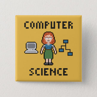 Badge Carré 5 Cm Bouton de l'informatique de pixel - femelle -