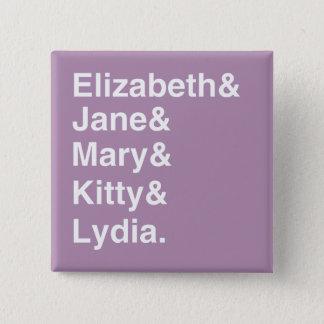 Badge Carré 5 Cm Bouton de liste de noms de filles de fierté et de