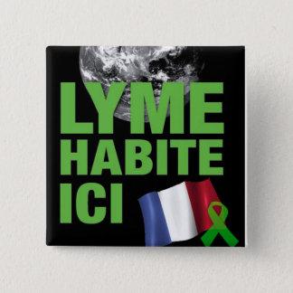 Badge Carré 5 Cm Bouton de Lyme Habite Ici France Lyme Borreliosis