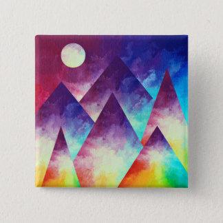 Badge Carré 5 Cm Bouton de montagne d'arc-en-ciel, arc-en-ciel