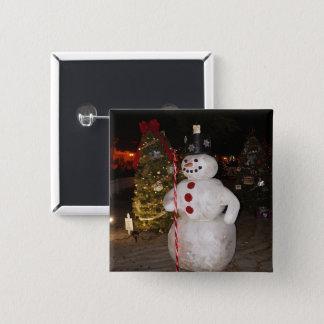 Badge Carré 5 Cm Bouton de Pinback d'arbre de bonhomme de neige et
