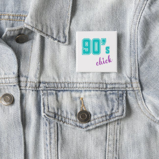 Badge Carré 5 Cm bouton de poussin des années 90