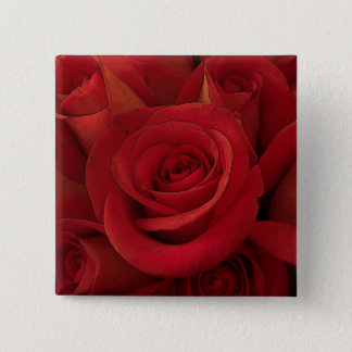 Badge Carré 5 Cm Bouton de roses rouges