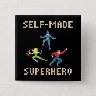 Badge Carré 5 Cm Bouton de super héros d'art de pixel
