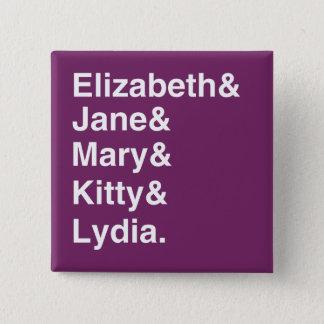 Badge Carré 5 Cm Bouton de typographie de Jane Austen P&P (pourpre)
