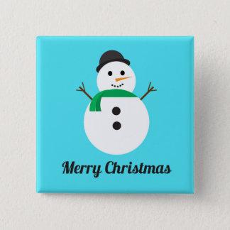 Badge Carré 5 Cm Bouton de vacances de carré de bonhomme de neige
