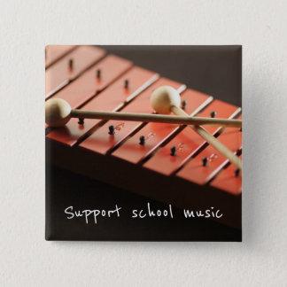 Badge Carré 5 Cm Bouton de xylophone de musique d'école de soutien