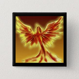 Badge Carré 5 Cm Bouton du feu de Phoenix