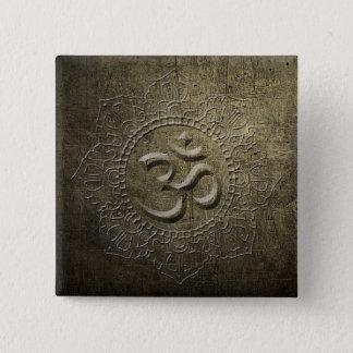 Badge Carré 5 Cm Bouton en métal de bronze de mandala de symbole