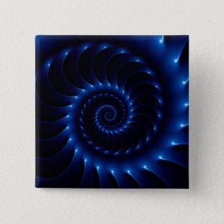 Badge Carré 5 Cm Bouton en spirale bleu brillant de fractale