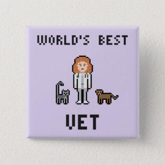 Badge Carré 5 Cm Bouton femelle du vétérinaire du monde de pixel le