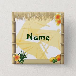 Badge Carré 5 Cm Bouton hawaïen de nom de partie de Luau