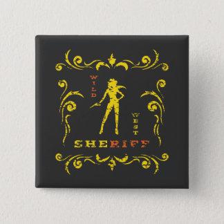 Badge Carré 5 Cm Bouton jaune de cow-girl