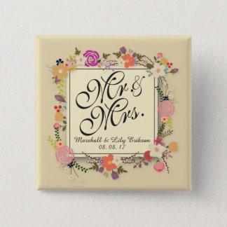 Badge Carré 5 Cm Bouton l'épousant floral élégant personnalisé de